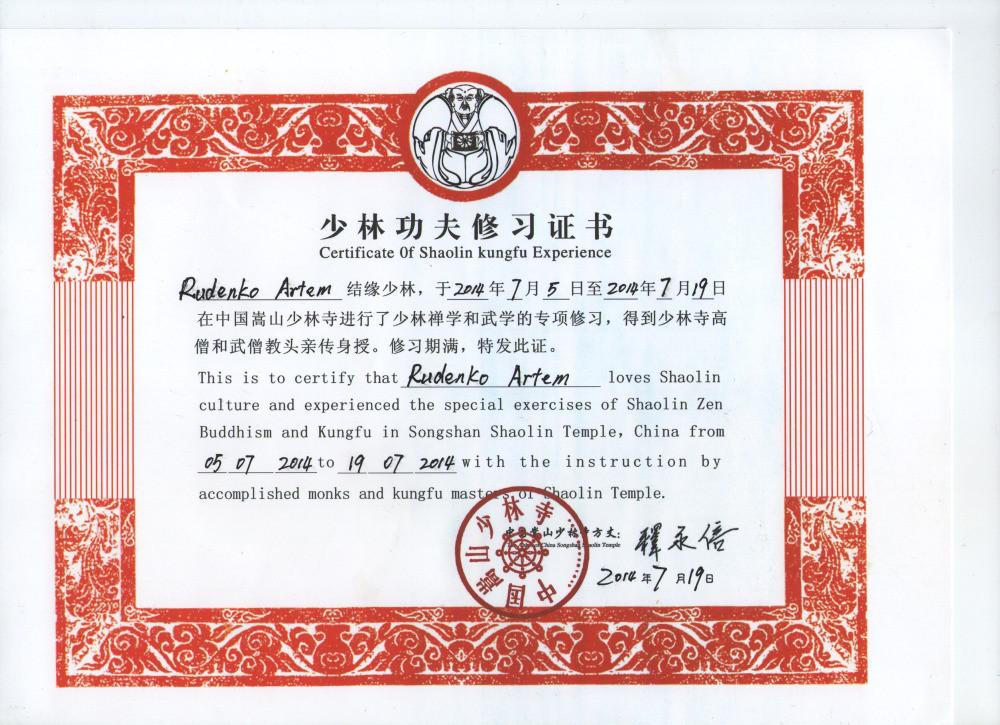 Artem Shaolin Certificate