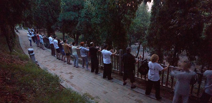 Вечерняя практика «Дерево» перед «Лесом пагод». Шаолинь 2016 г.
